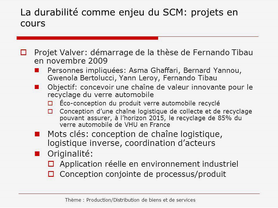 Thème : Production/Distribution de biens et de services La durabilité comme enjeu du SCM: projets en cours Projet Valver: démarrage de la thèse de Fer