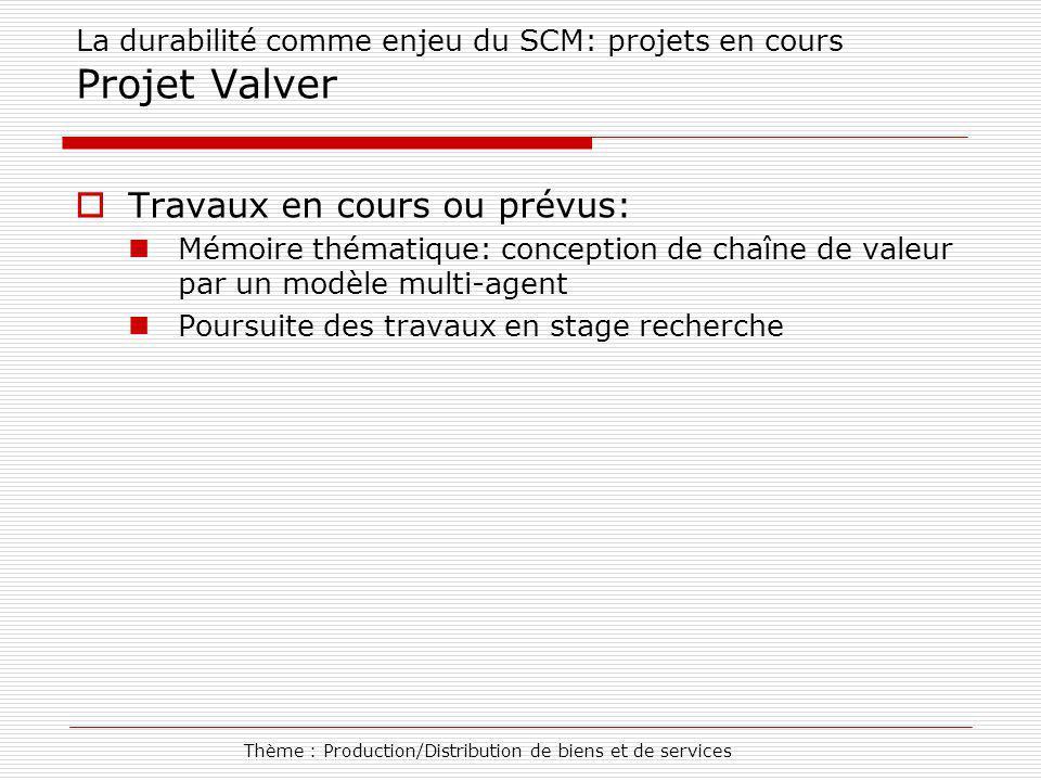 Thème : Production/Distribution de biens et de services La durabilité comme enjeu du SCM: projets en cours Projet Valver Travaux en cours ou prévus: M