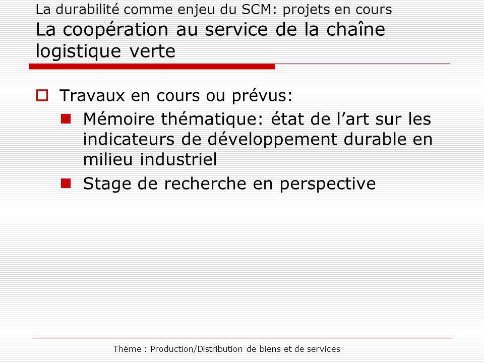 Thème : Production/Distribution de biens et de services La durabilité comme enjeu du SCM: projets en cours La coopération au service de la chaîne logi