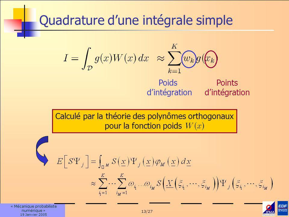 13/27 « Mécanique probabiliste numérique » 19 Janvier 2005 Quadrature dune intégrale simple Poids dintégration Points dintégration Calculé par la théorie des polynômes orthogonaux pour la fonction poids
