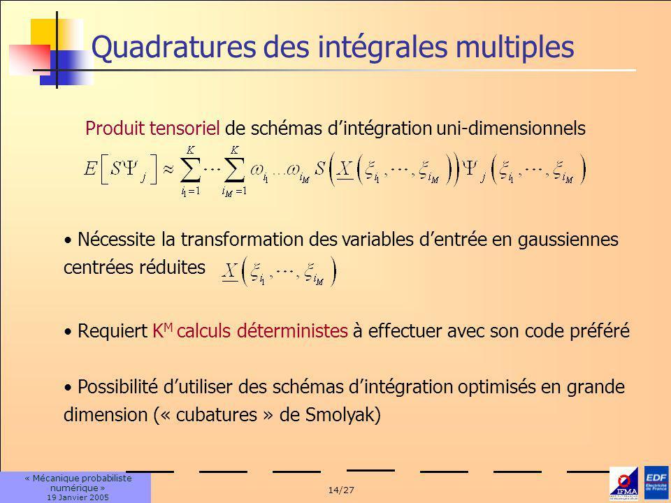 14/27 « Mécanique probabiliste numérique » 19 Janvier 2005 Quadratures des intégrales multiples Requiert K M calculs déterministes à effectuer avec son code préféré Possibilité dutiliser des schémas dintégration optimisés en grande dimension (« cubatures » de Smolyak) Nécessite la transformation des variables dentrée en gaussiennes centrées réduites Produit tensoriel de schémas dintégration uni-dimensionnels