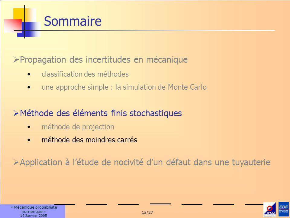 15/27 « Mécanique probabiliste numérique » 19 Janvier 2005 classification des méthodes une approche simple : la simulation de Monte Carlo Sommaire Pro
