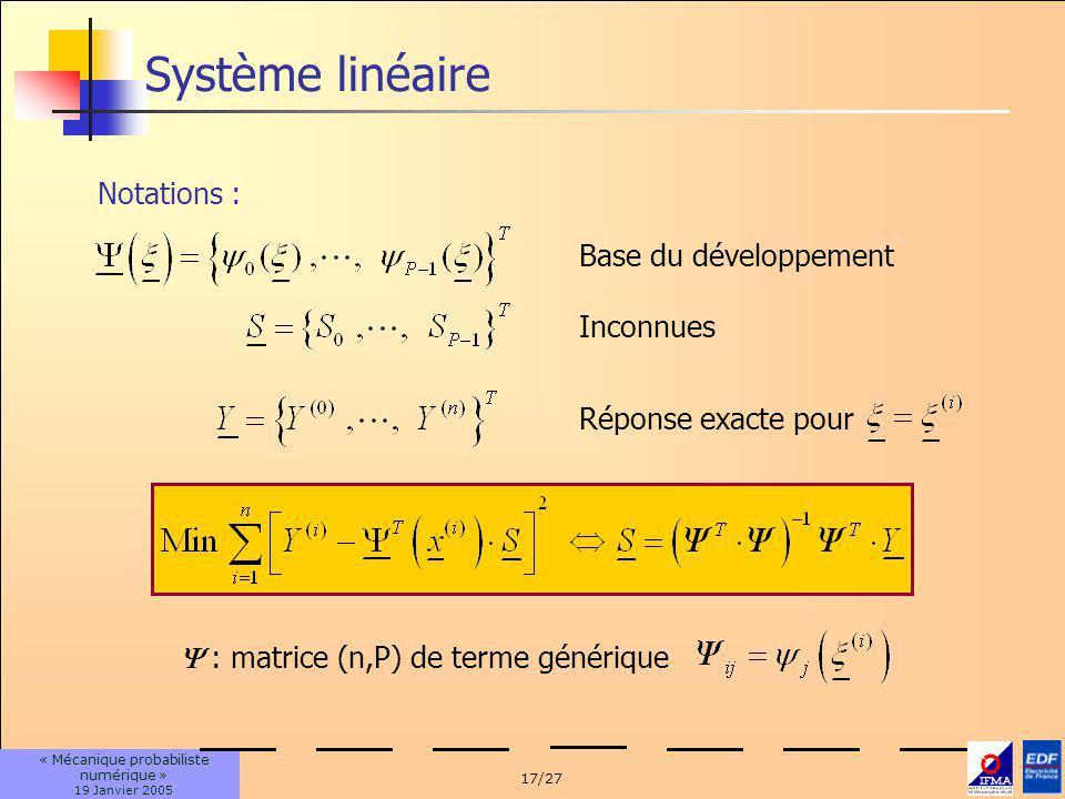 17/27 « Mécanique probabiliste numérique » 19 Janvier 2005 Système linéaire Notations : Base du développement Inconnues Réponse exacte pour : matrice (n,P) de terme générique