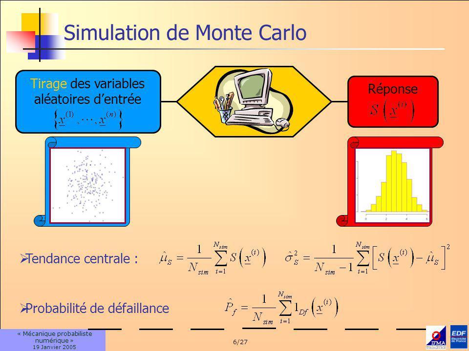 6/27 « Mécanique probabiliste numérique » 19 Janvier 2005 Simulation de Monte Carlo Tirage des variables aléatoires dentrée Tendance centrale : Probab