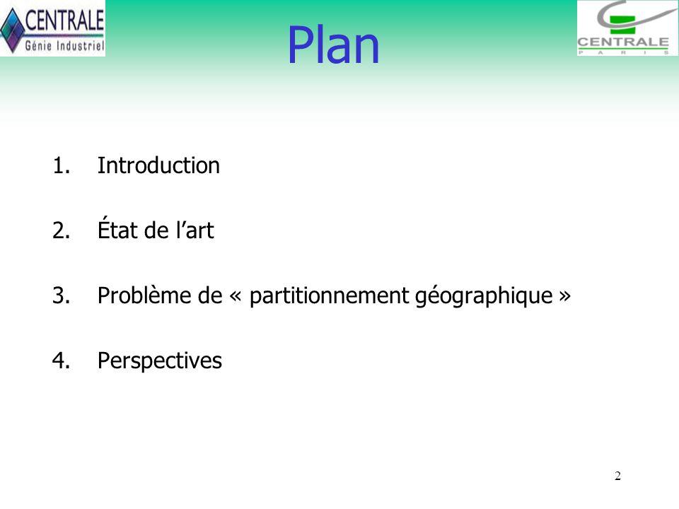 2 Plan 1.Introduction 2.État de lart 3.Problème de « partitionnement géographique » 4.Perspectives