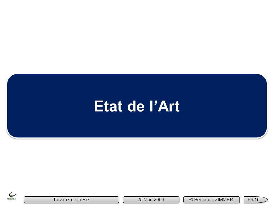 Etat de lArt Travaux de thèse 25 Mai, 2009 © Benjamin ZIMMER P9/16