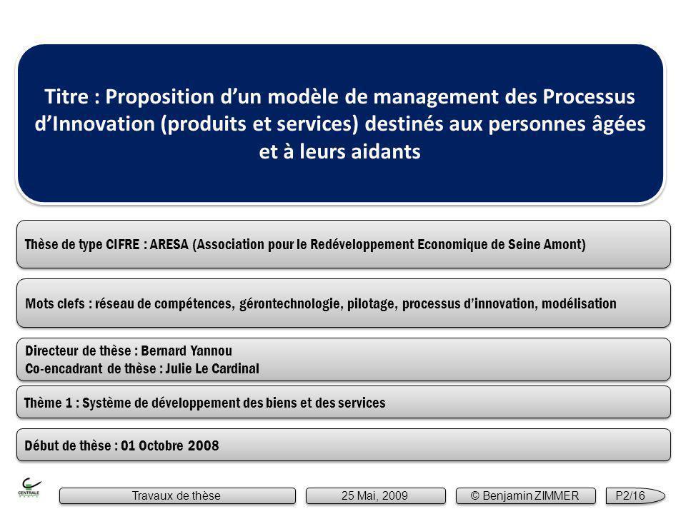 Mots clefs : réseau de compétences, gérontechnologie, pilotage, processus dinnovation, modélisation Titre : Proposition dun modèle de management des P