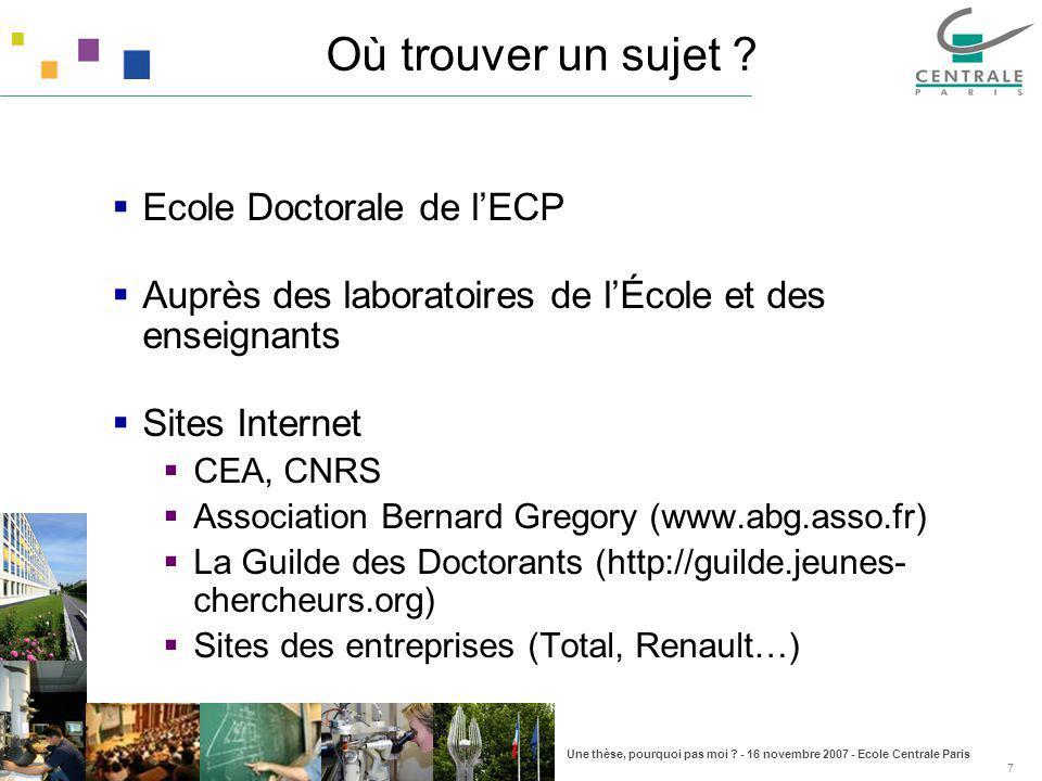 Une thèse, pourquoi pas moi ? - 16 novembre 2007 - Ecole Centrale Paris 7 Où trouver un sujet ? Ecole Doctorale de lECP Auprès des laboratoires de lÉc