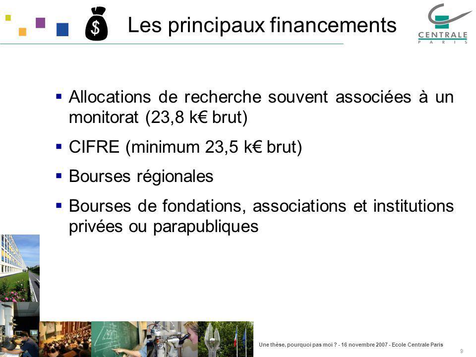 Une thèse, pourquoi pas moi ? - 16 novembre 2007 - Ecole Centrale Paris 9 Les principaux financements Allocations de recherche souvent associées à un