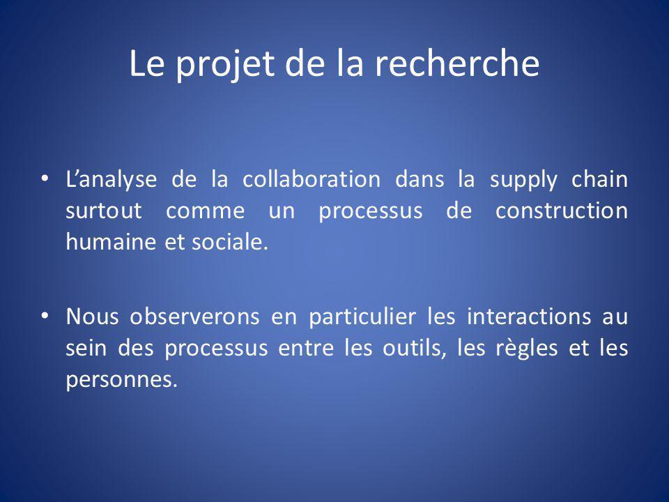Le projet de la recherche Lanalyse de la collaboration dans la supply chain surtout comme un processus de construction humaine et sociale. Nous observ