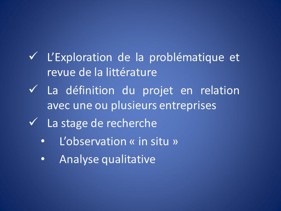LExploration de la problématique et revue de la littérature La définition du projet en relation avec une ou plusieurs entreprises La stage de recherch