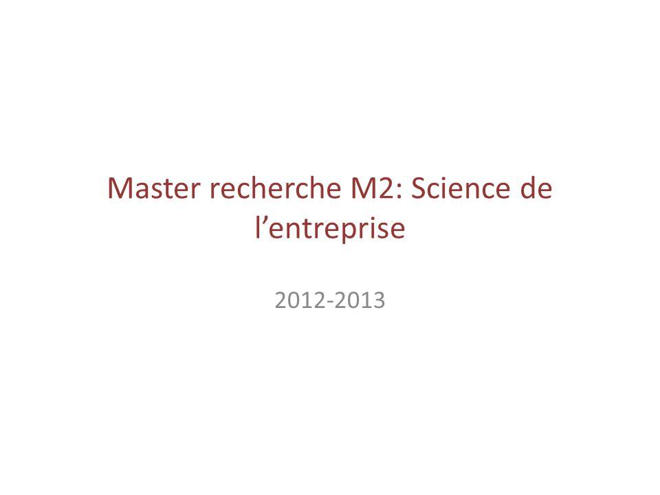 Master recherche M2: Science de lentreprise 2012-2013
