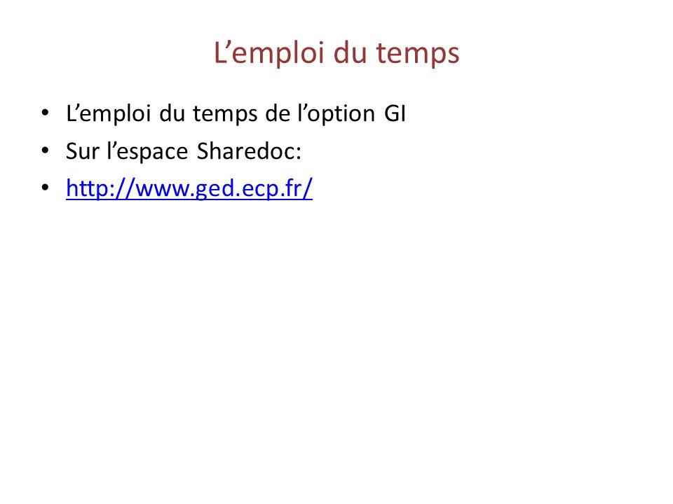 Lemploi du temps Lemploi du temps de loption GI Sur lespace Sharedoc: http://www.ged.ecp.fr/