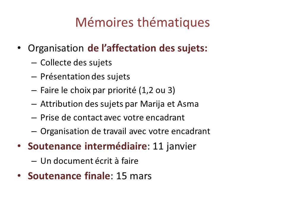 Mémoires thématiques Organisation de laffectation des sujets: – Collecte des sujets – Présentation des sujets – Faire le choix par priorité (1,2 ou 3)