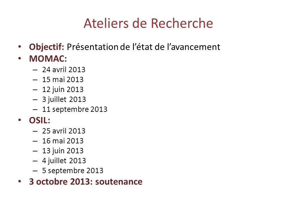 Ateliers de Recherche Objectif: Présentation de létat de lavancement MOMAC: – 24 avril 2013 – 15 mai 2013 – 12 juin 2013 – 3 juillet 2013 – 11 septemb