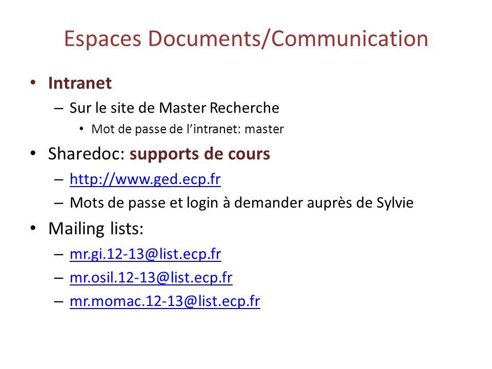Espaces Documents/Communication Intranet – Sur le site de Master Recherche Mot de passe de lintranet: master Sharedoc: supports de cours – http://www.