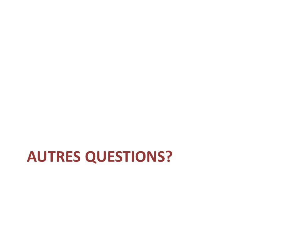 AUTRES QUESTIONS?