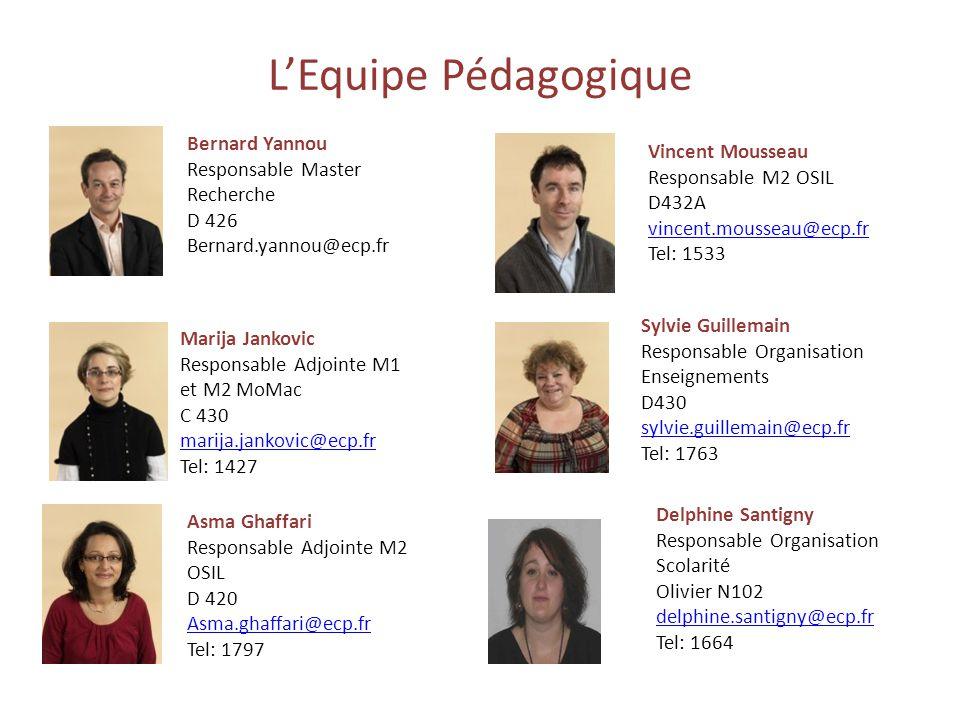 LEquipe Pédagogique Bernard Yannou Responsable Master Recherche D 426 Bernard.yannou@ecp.fr Sylvie Guillemain Responsable Organisation Enseignements D