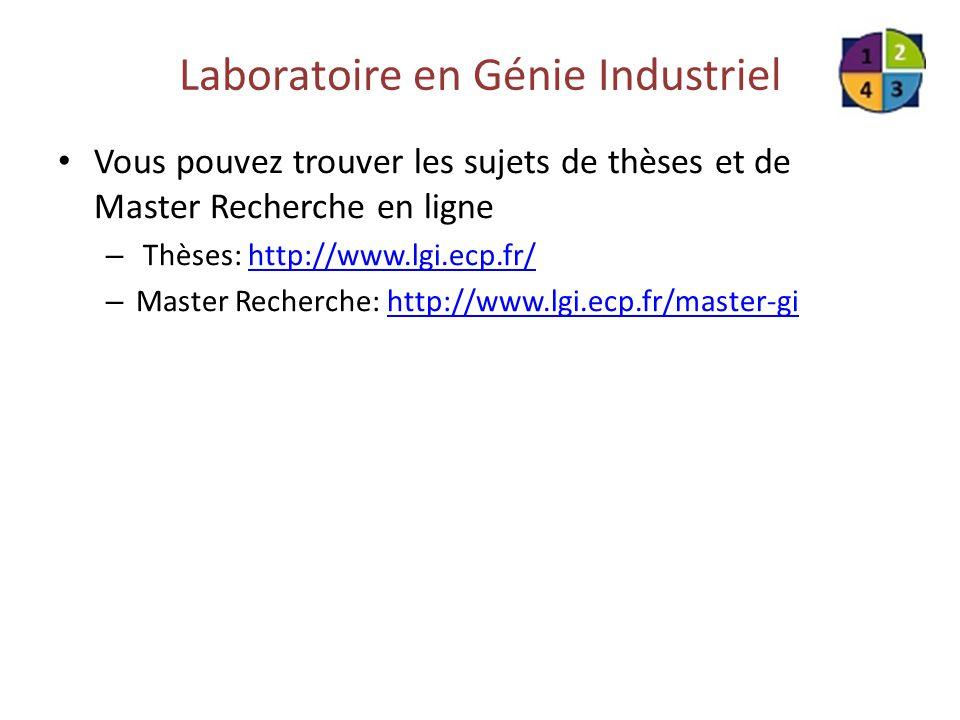 Laboratoire en Génie Industriel Vous pouvez trouver les sujets de thèses et de Master Recherche en ligne – Thèses: http://www.lgi.ecp.fr/http://www.lg