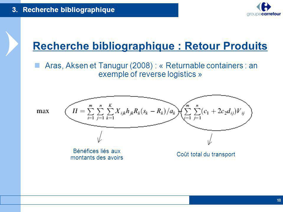 18 Aras, Aksen et Tanugur (2008) : « Returnable containers : an exemple of reverse logistics » 3.Recherche bibliographique Recherche bibliographique :