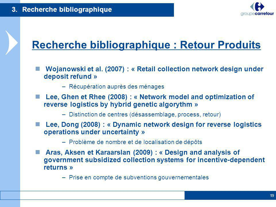 19 Wojanowski et al. (2007) : « Retail collection network design under deposit refund » –Récupération auprès des ménages Lee, Ghen et Rhee (2008) : «