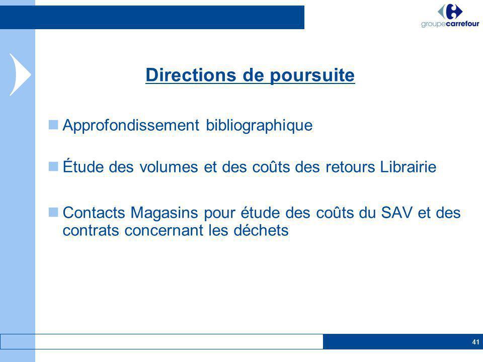41 Approfondissement bibliographique Étude des volumes et des coûts des retours Librairie Contacts Magasins pour étude des coûts du SAV et des contrat