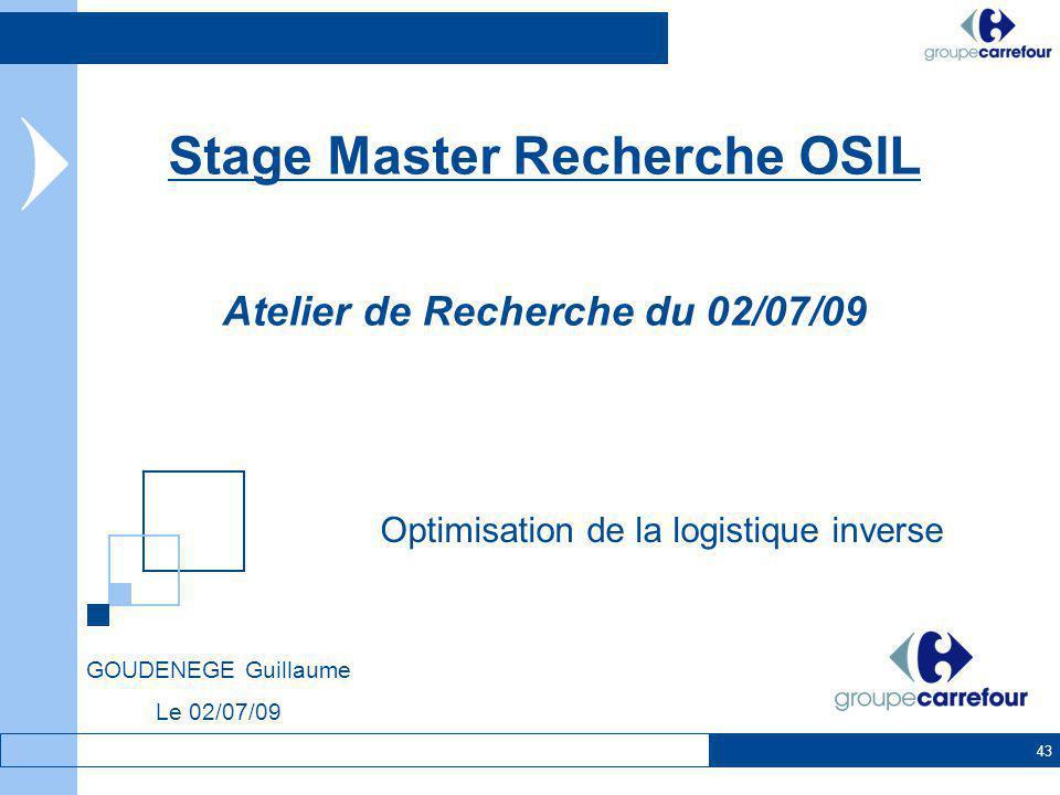 43 Optimisation de la logistique inverse Stage Master Recherche OSIL Atelier de Recherche du 02/07/09 GOUDENEGE Guillaume Le 02/07/09