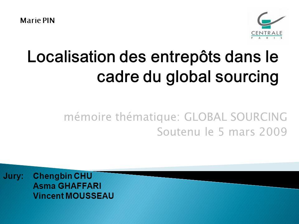 mémoire thématique: GLOBAL SOURCING Soutenu le 5 mars 2009 Localisation des entrepôts dans le cadre du global sourcing Marie PIN Jury: Chengbin CHU Asma GHAFFARI Vincent MOUSSEAU