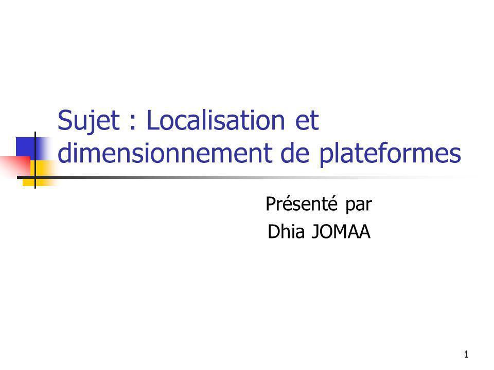 1 Sujet : Localisation et dimensionnement de plateformes Présenté par Dhia JOMAA