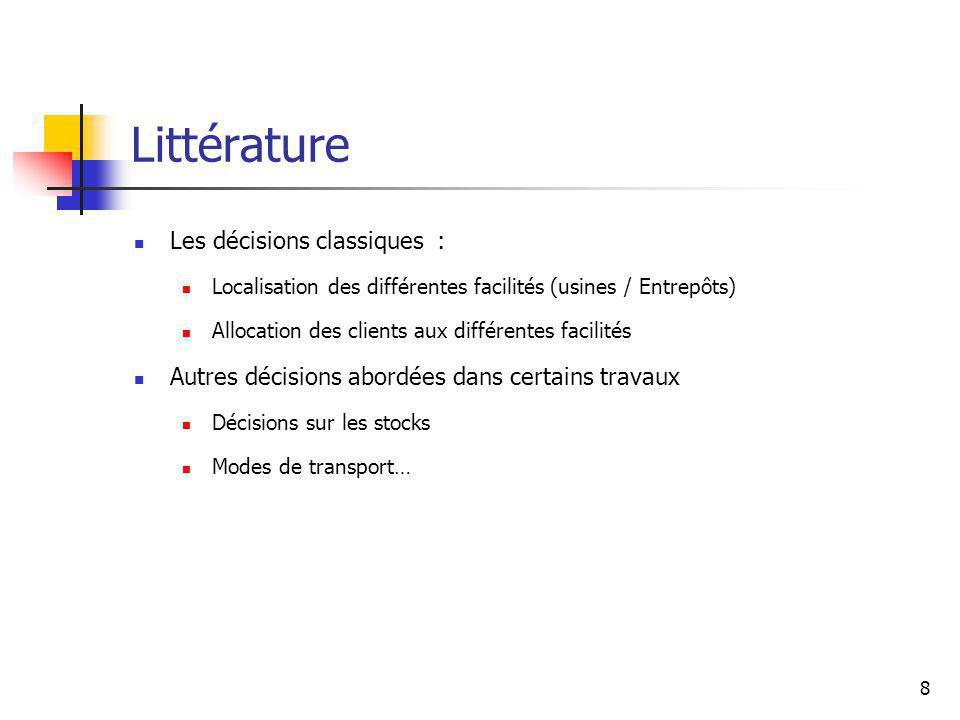 8 Littérature Les décisions classiques : Localisation des différentes facilités (usines / Entrepôts) Allocation des clients aux différentes facilités