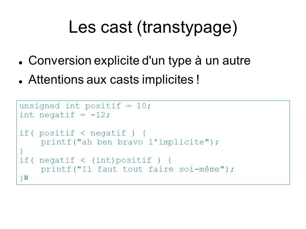 Les cast (transtypage) Conversion explicite d'un type à un autre Attentions aux casts implicites ! unsigned int positif = 10; int negatif = -12; if( p
