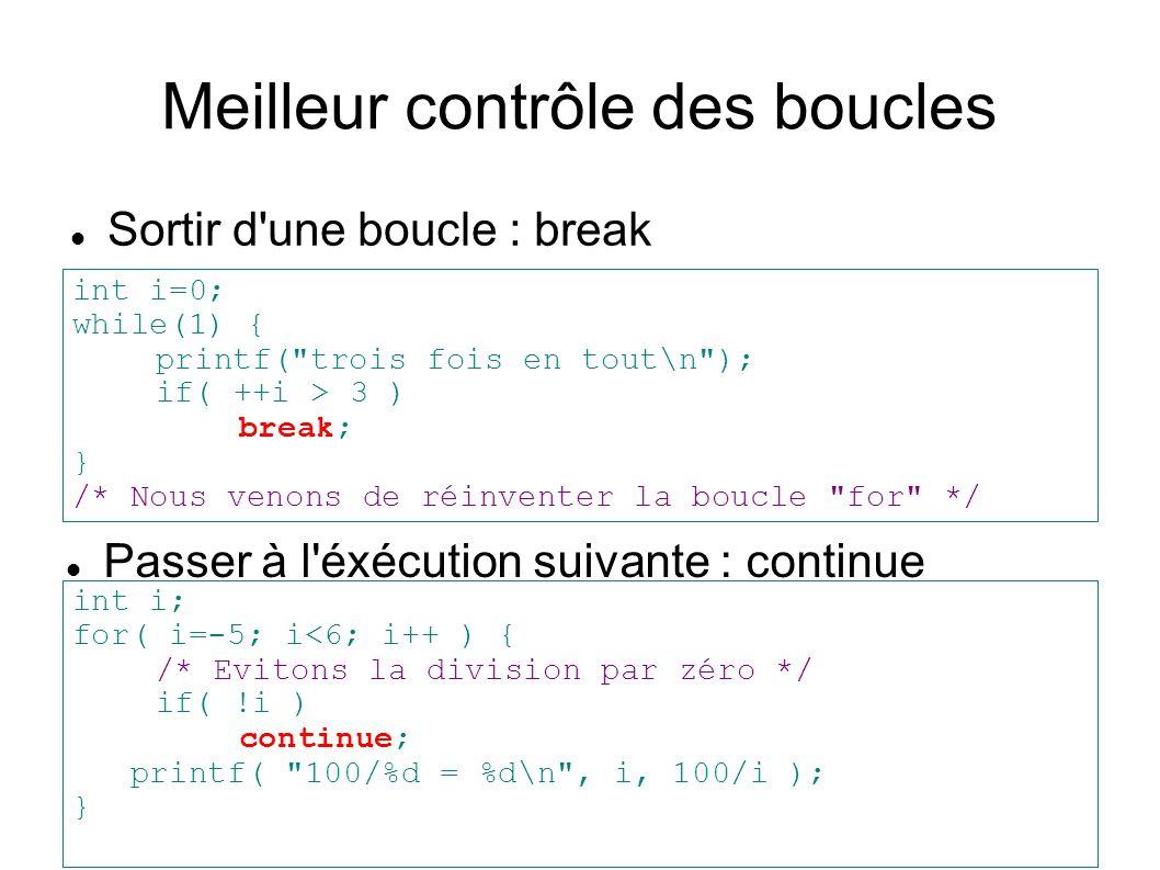 Meilleur contrôle des boucles Sortir d'une boucle : break int i=0; while(1) { printf(