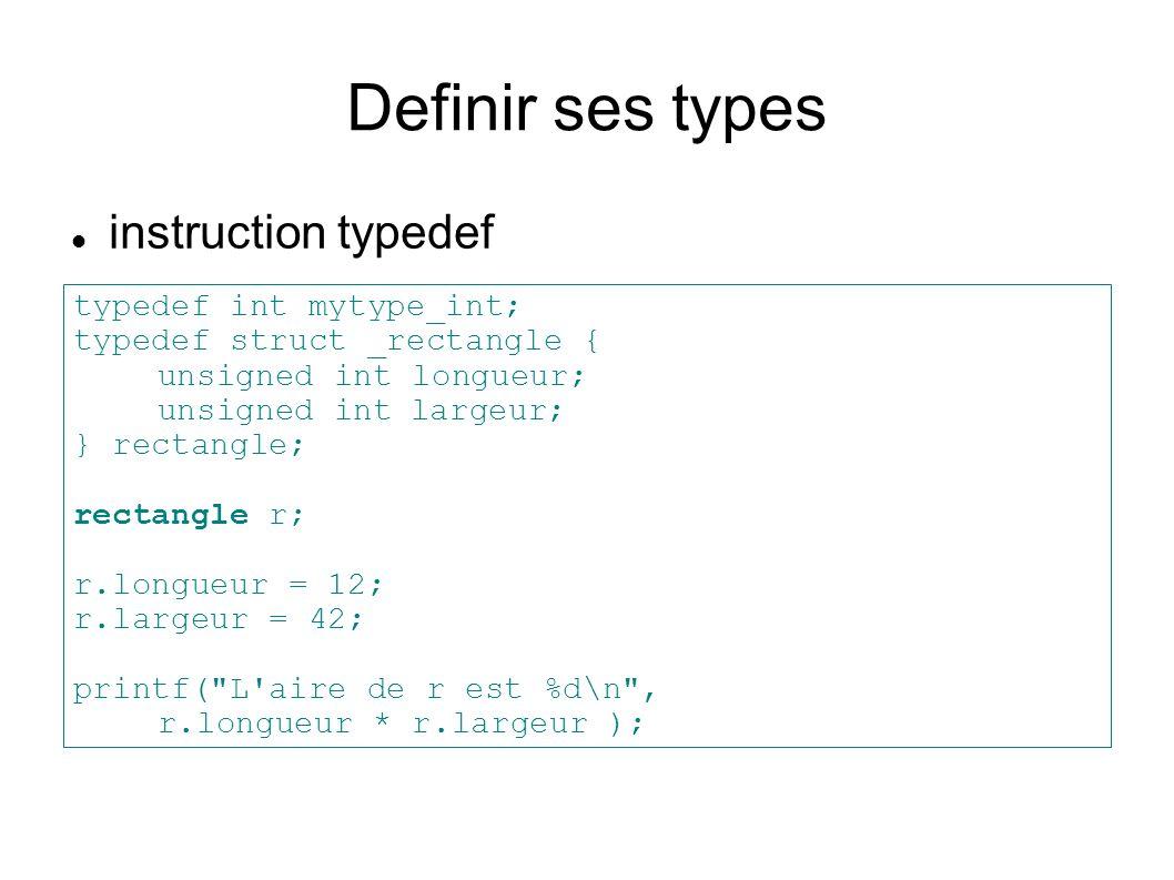 Definir ses types instruction typedef typedef int mytype_int; typedef struct _rectangle { unsigned int longueur; unsigned intlargeur; } rectangle; rectangle r; r.longueur = 12; r.largeur = 42; printf( L aire de r est %d\n , r.longueur * r.largeur );