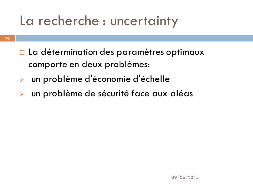 La recherche : uncertainty 09/06/2014 10 La détermination des paramètres optimaux comporte en deux problèmes: un problème d'économie d'échelle un prob
