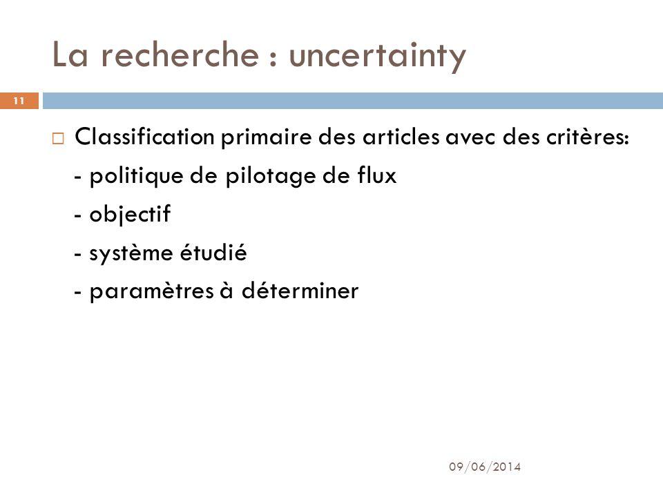 La recherche : uncertainty 09/06/2014 11 Classification primaire des articles avec des critères: - politique de pilotage de flux - objectif - système étudié - paramètres à déterminer