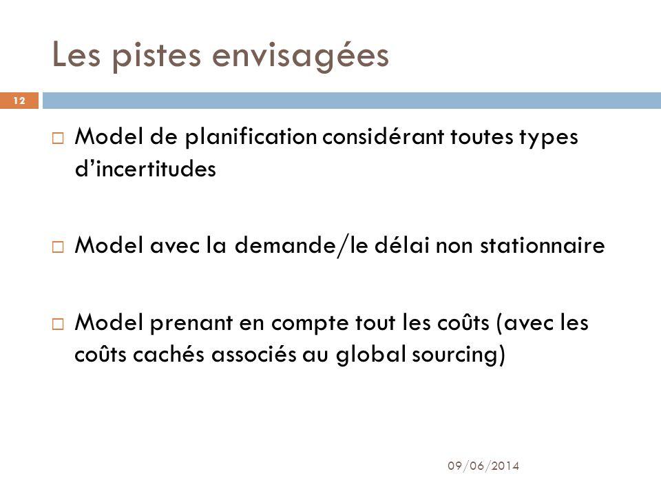 Les pistes envisagées 09/06/2014 12 Model de planification considérant toutes types dincertitudes Model avec la demande/le délai non stationnaire Model prenant en compte tout les coûts (avec les coûts cachés associés au global sourcing)