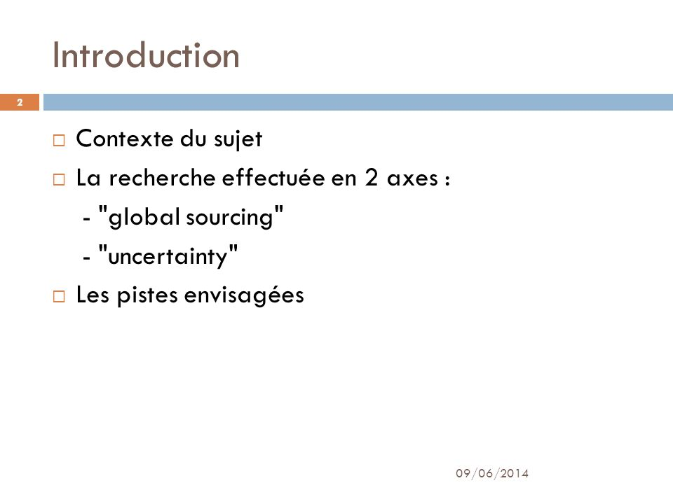 Introduction Contexte du sujet La recherche effectuée en 2 axes : -