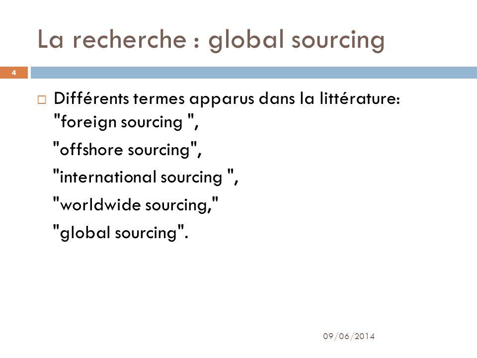 La recherche : global sourcing Différents termes apparus dans la littérature: foreign sourcing , offshore sourcing , international sourcing , worldwide sourcing, global sourcing .