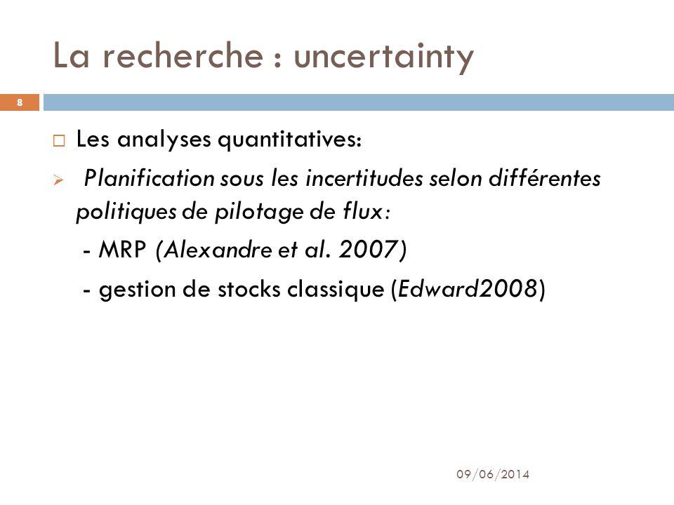 La recherche : uncertainty 09/06/2014 9 Problématiques traités : demande de client (Les incertitudes prévisionnelles) approvisionnement des fournisseurs (Les incertitudes sur le délai dapprovisionnement et les incertitudes sur la quantité reçue)