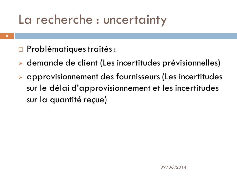 La recherche : uncertainty 09/06/2014 9 Problématiques traités : demande de client (Les incertitudes prévisionnelles) approvisionnement des fournisseu
