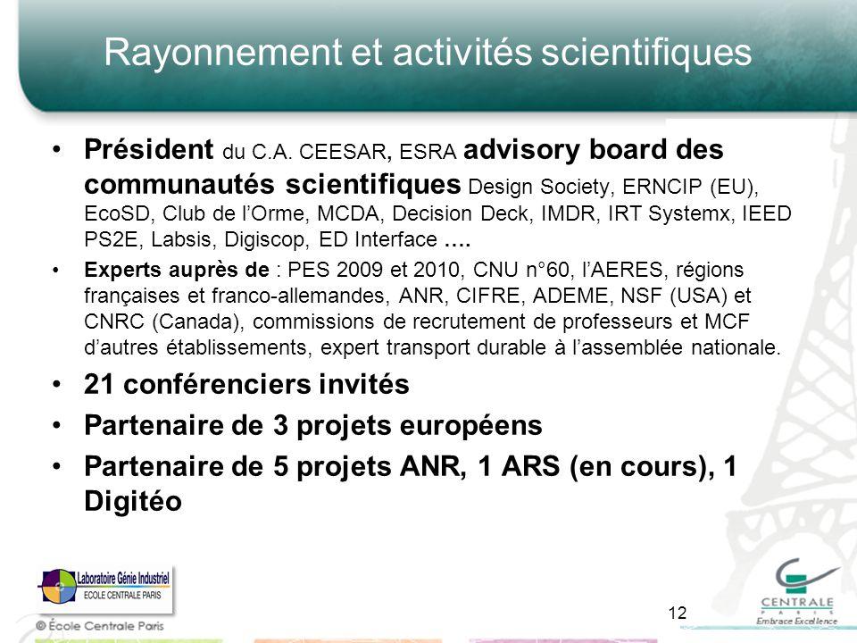 Rayonnement et activités scientifiques Président du C.A. CEESAR, ESRA advisory board des communautés scientifiques Design Society, ERNCIP (EU), EcoSD,