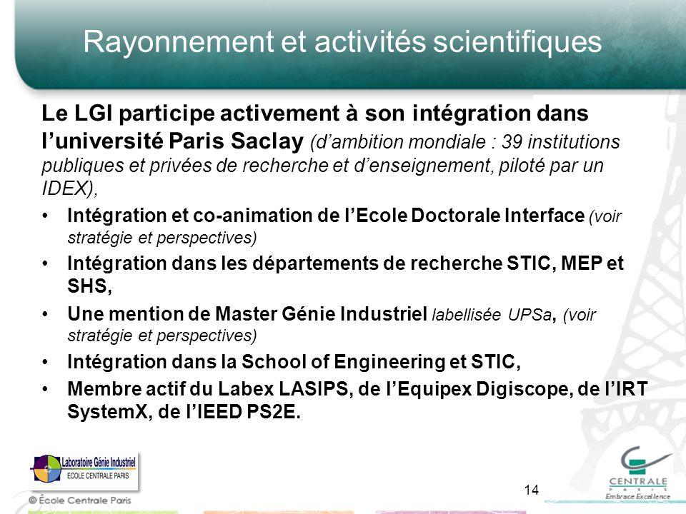 Rayonnement et activités scientifiques Le LGI participe activement à son intégration dans luniversité Paris Saclay (dambition mondiale : 39 institutio
