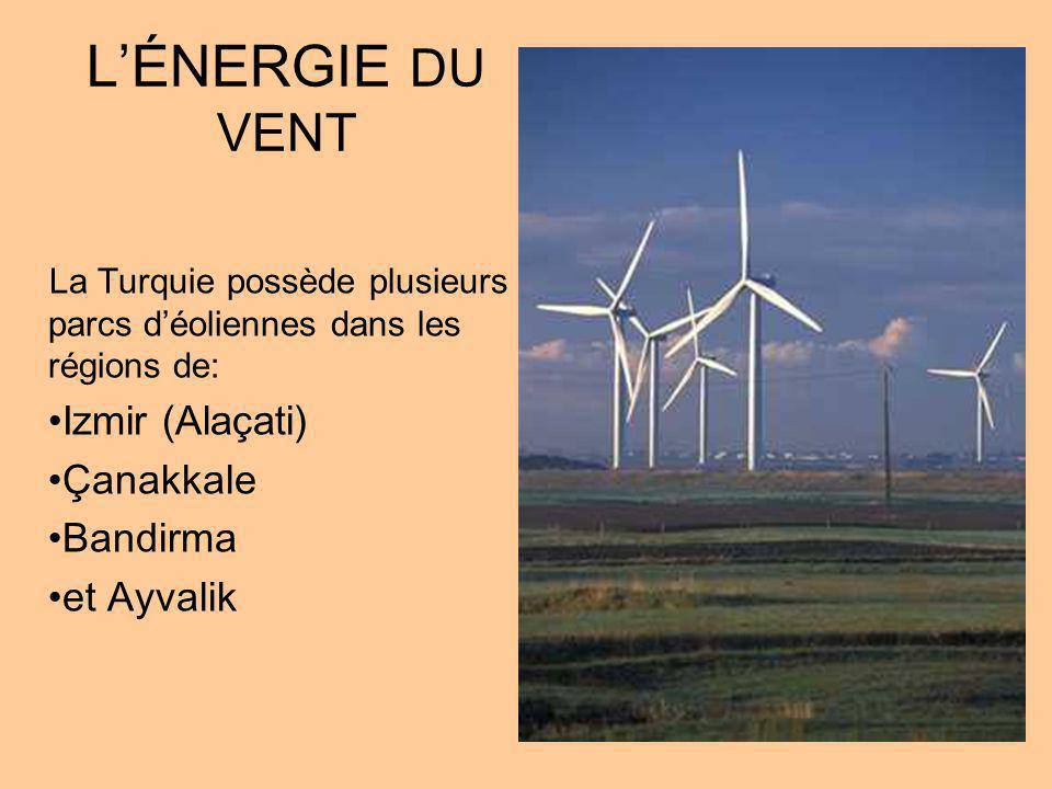 LÉNERGIE DU VENT La Turquie possède plusieurs parcs déoliennes dans les régions de: Izmir (Alaçati) Çanakkale Bandirma et Ayvalik