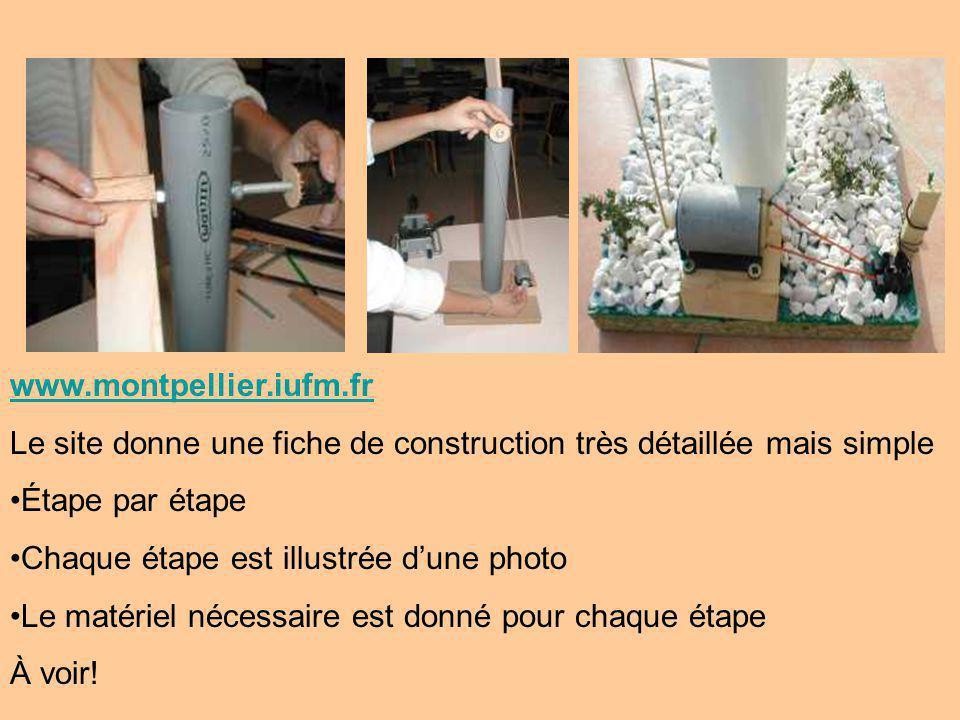 www.montpellier.iufm.fr Le site donne une fiche de construction très détaillée mais simple Étape par étape Chaque étape est illustrée dune photo Le matériel nécessaire est donné pour chaque étape À voir!