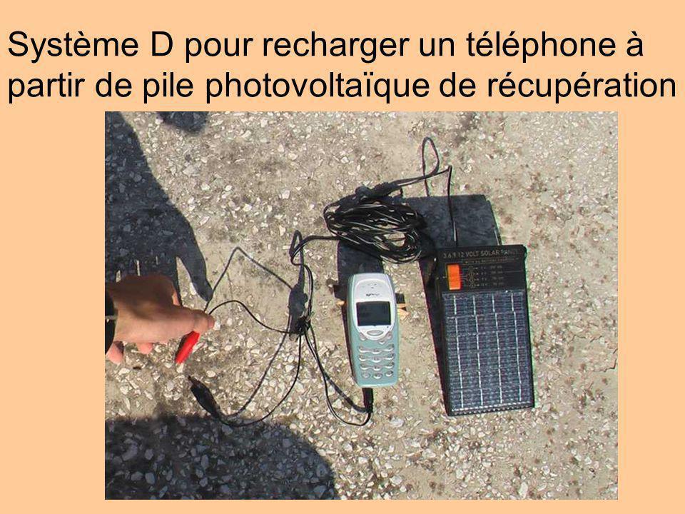 Système D pour recharger un téléphone à partir de pile photovoltaïque de récupération