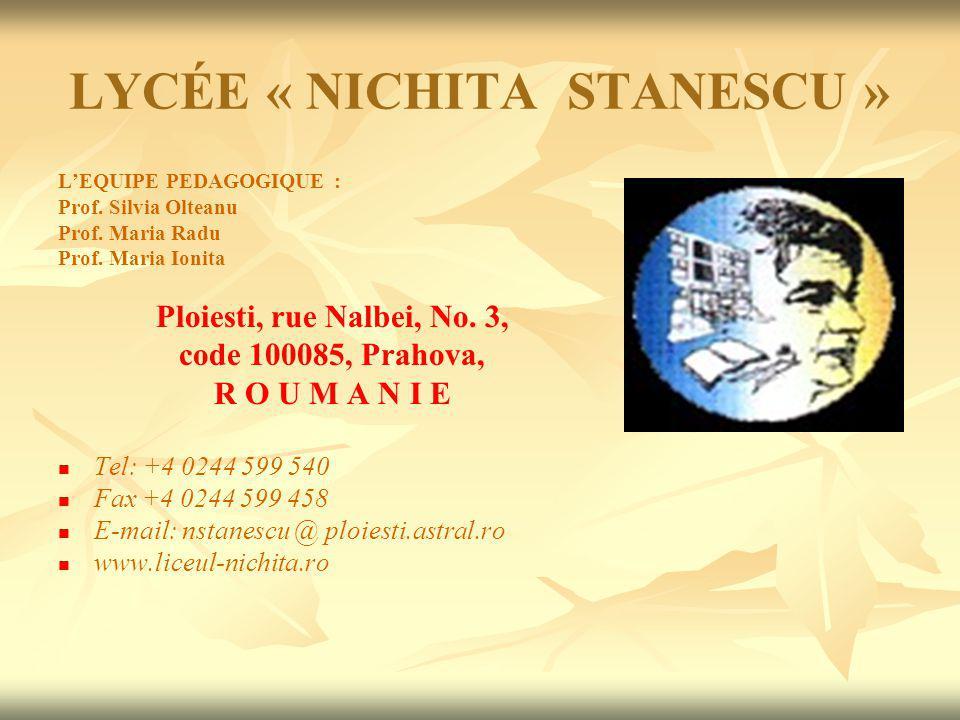 LYCÉE « NICHITA STANESCU » LEQUIPE PEDAGOGIQUE : Prof.