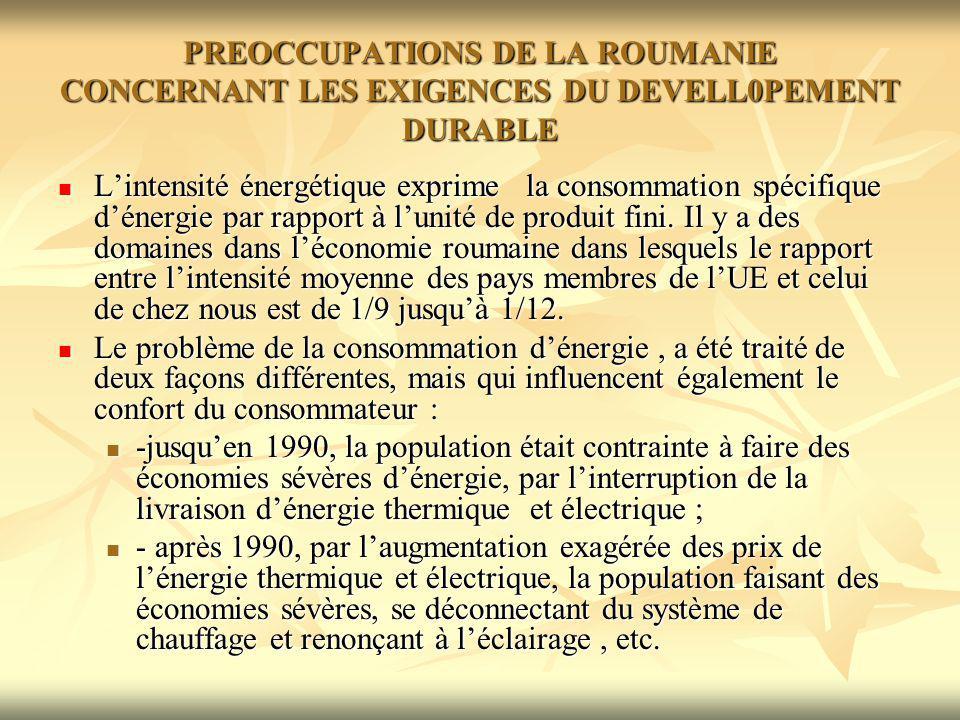 PREOCCUPATIONS DE LA ROUMANIE CONCERNANT LES EXIGENCES DU DEVELL0PEMENT DURABLE Lintensité énergétique exprime la consommation spécifique dénergie par rapport à lunité de produit fini.