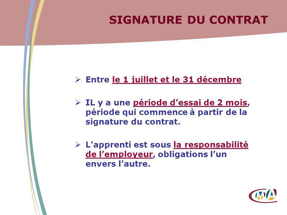 SIGNATURE DU CONTRAT Entre le 1 juillet et le 31 décembre IL y a une période dessai de 2 mois, période qui commence à partir de la signature du contra