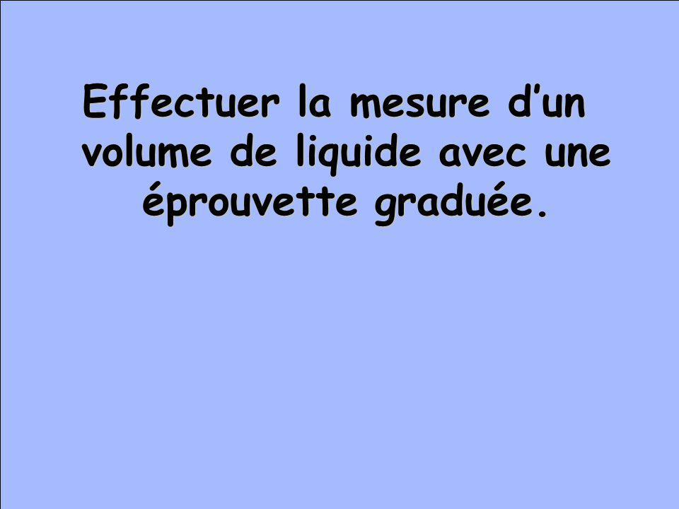 Effectuer la mesure dun volume de liquide avec une éprouvette graduée.