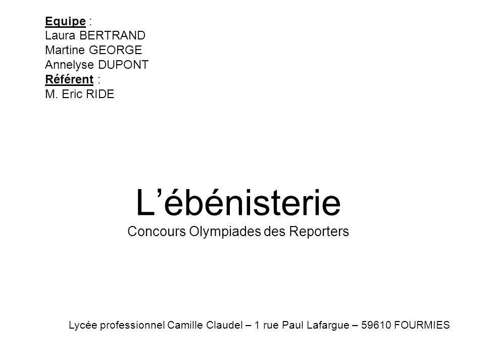 Lébénisterie Concours Olympiades des Reporters Equipe : Laura BERTRAND Martine GEORGE Annelyse DUPONT Référent : M. Eric RIDE Lycée professionnel Cami